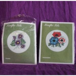 2 cross stitch kits violets & Anemones